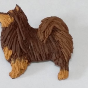 Brown tricolour finnish lapphund brooch